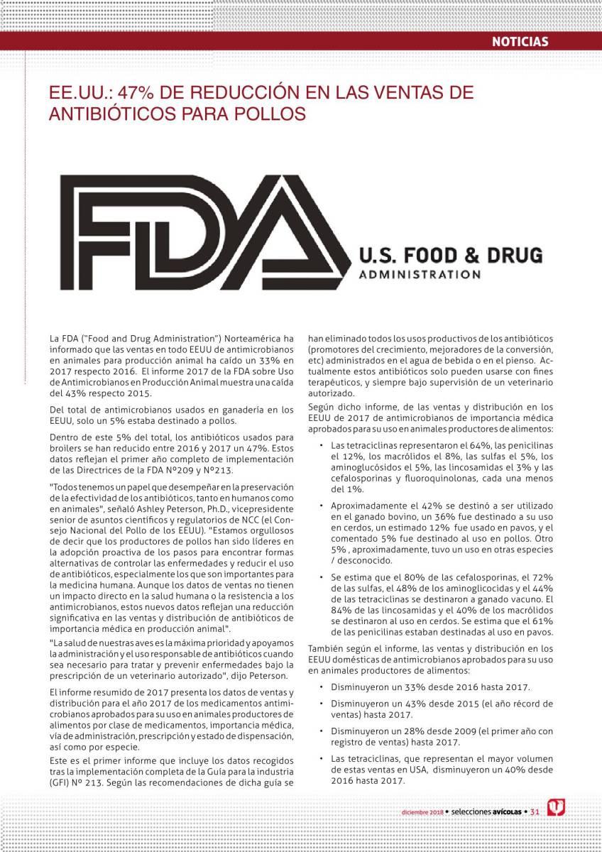 Noticias: EE.UU.: 47% de reducción en las ventas de antibióticos para pollos