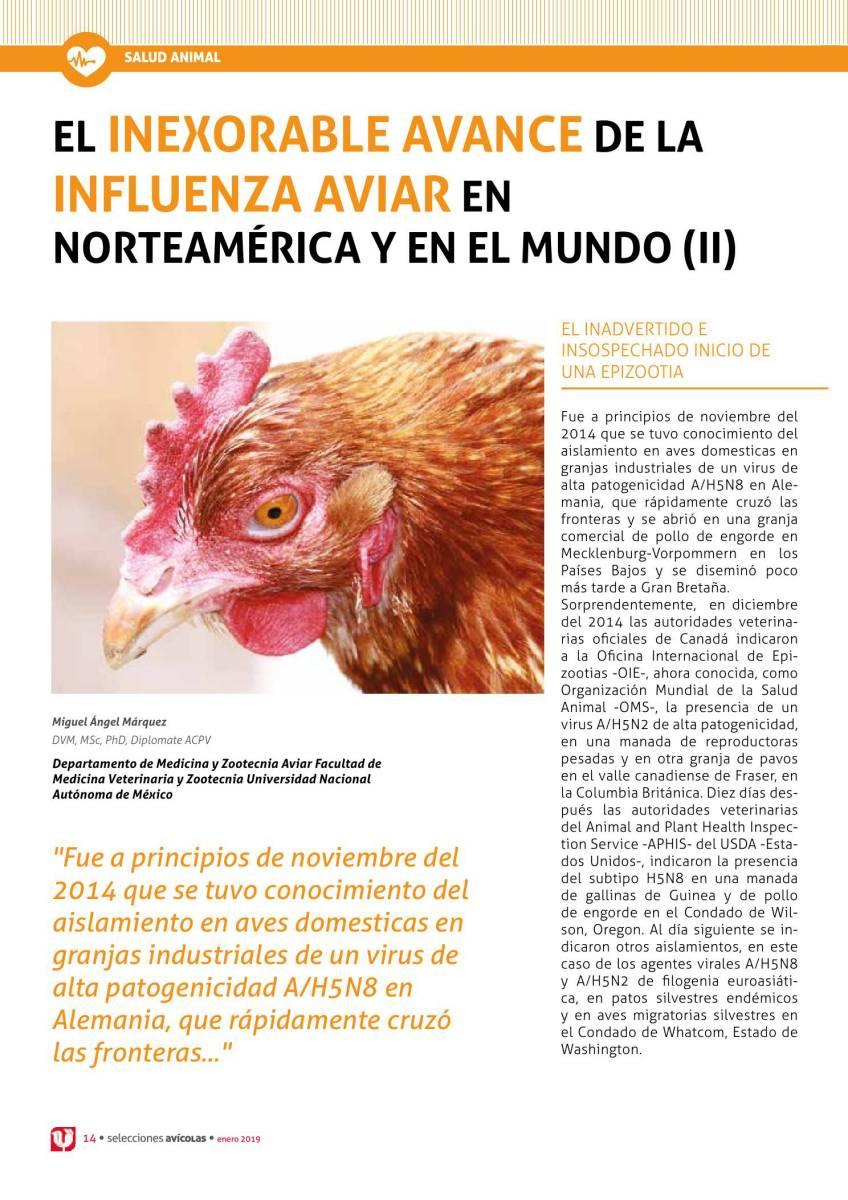 EL INEXORABLE AVANCE DE LA INFLUENZA AVIAR EN NORTEAMÉRICA Y EN EL MUNDO (II)