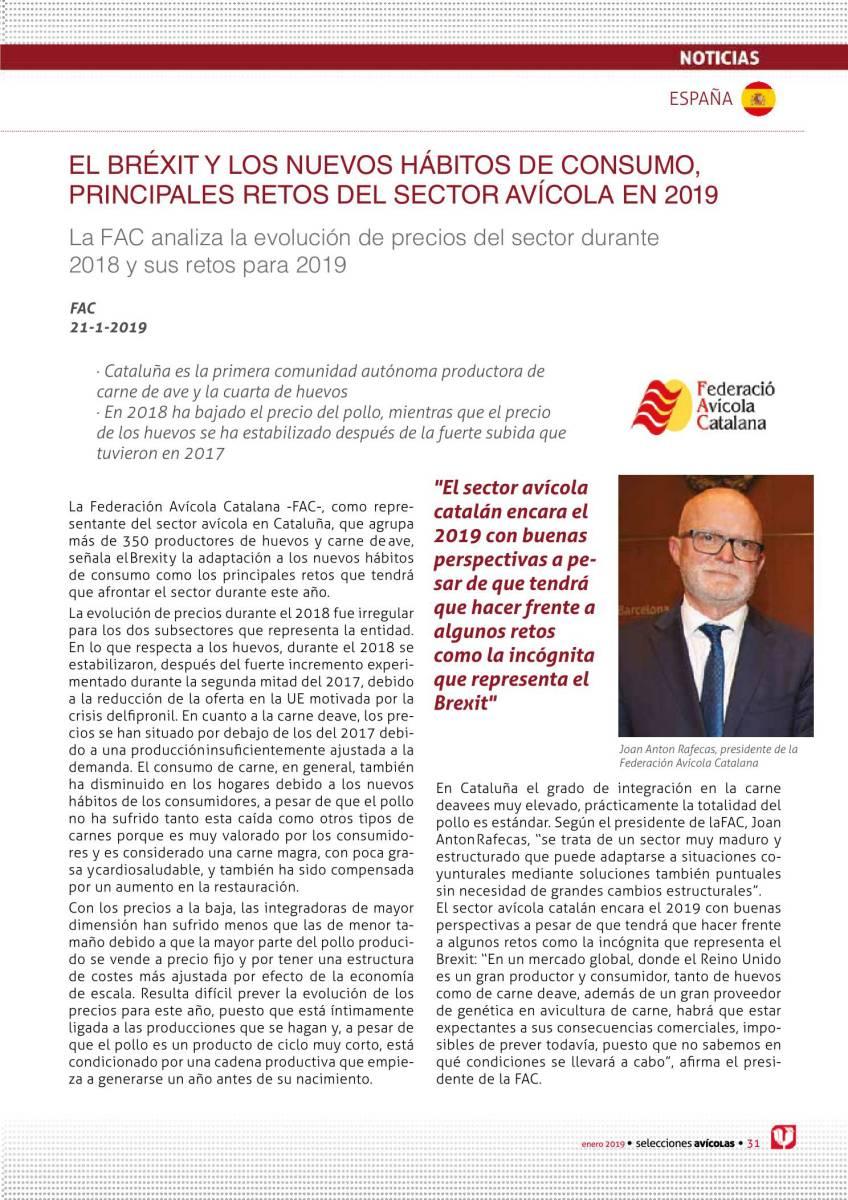 EL BRÉXIT Y LOS NUEVOS HÁBITOS DE CONSUMO, PRINCIPALES RETOS DEL SECTOR AVÍCOLA EN 2019