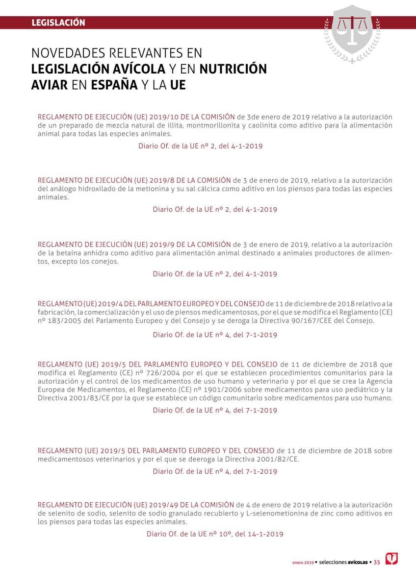 LEGISLACIÓN: NOVEDADES RELEVANTES EN LEGISLACIÓN AVÍCOLA Y EN NUTRICIÓN AVIAR EN ESPAÑA Y LA UE