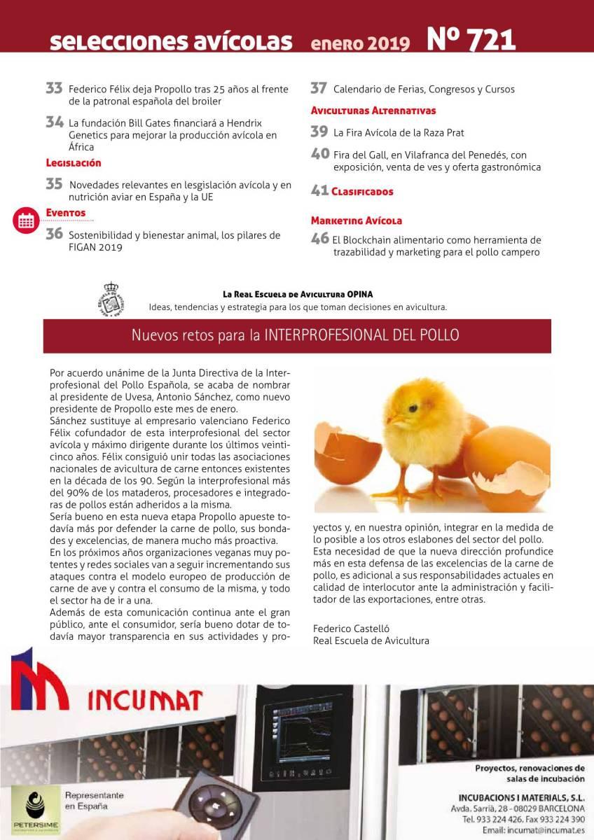 La real escuela de avicultura opina: Nuevos retos para la INTERPROFESIONAL DEL POLLO