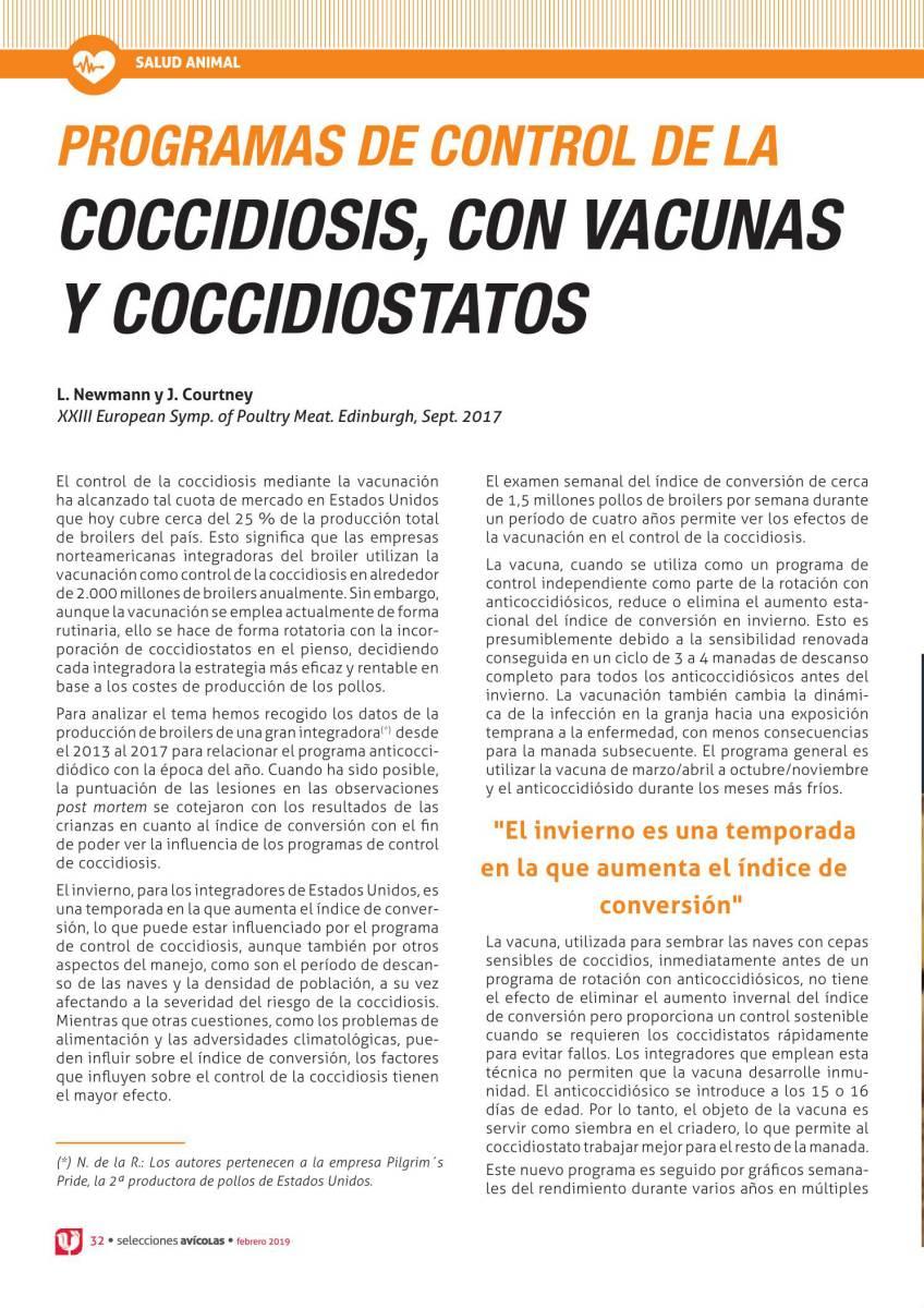 PROGRAMAS DE CONTROL DE LA COCCIDIOSIS, CON VACUNAS Y COCCIDIOSTATOS