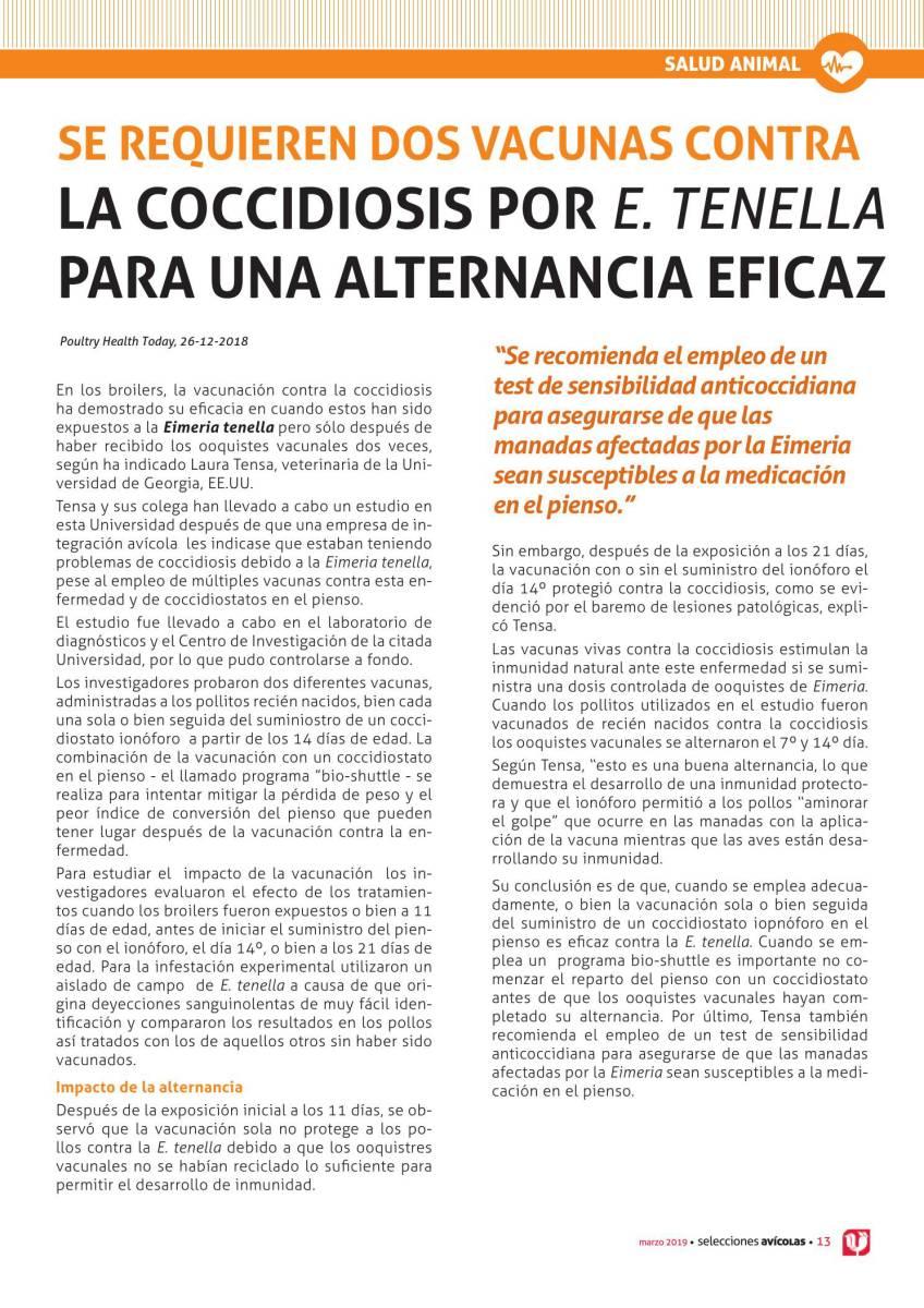 SE REQUIEREN DOS VACUNAS CONTRA LA COCCIDIOSIS POR E. TENELLA PARA UNA ALTERNANCIA EFICAZ