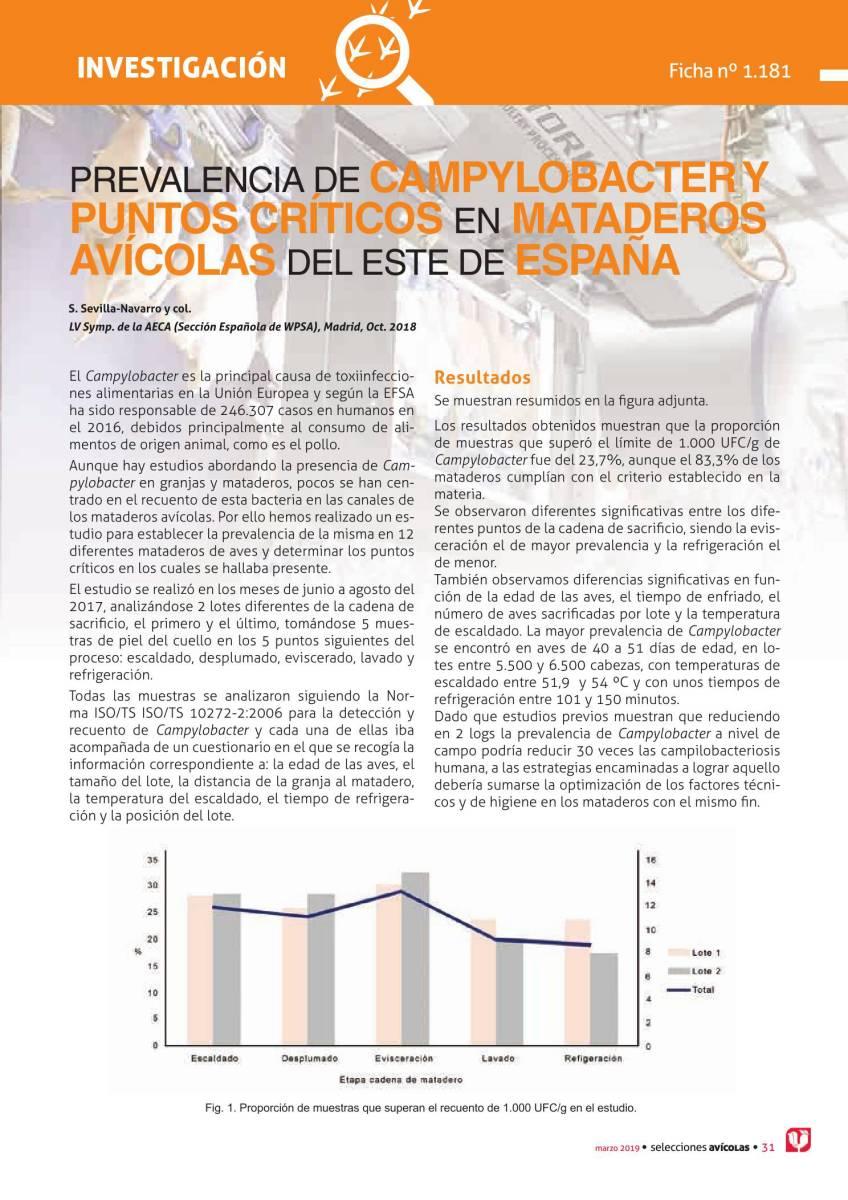 PREVALENCIA DE CAMPYLOBACTER Y PUNTOS CRÍTICOS EN MATADEROS AVÍCOLAS DEL ESTE DE ESPAÑA
