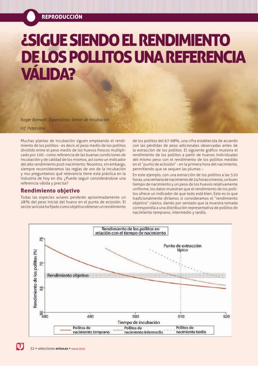 ¿SIGUE SIENDO EL RENDIMIENTO DE LOS POLLITOS UNA REFERENCIA VÁLIDA?