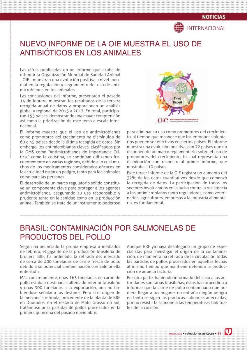 BRASIL: CONTAMINACIÓN POR SALMONELAS DE PRODUCTOS DEL POLLO