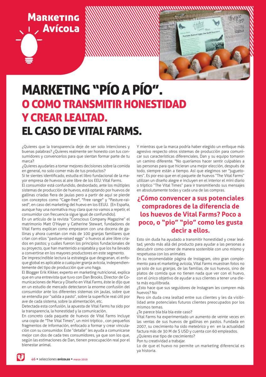 """MARKETING """"PÍO A PÍO"""".  O COMO TRANSMITIR HONESTIDAD Y CREAR LEALTAD.  EL CASO DE VITAL FARMS."""