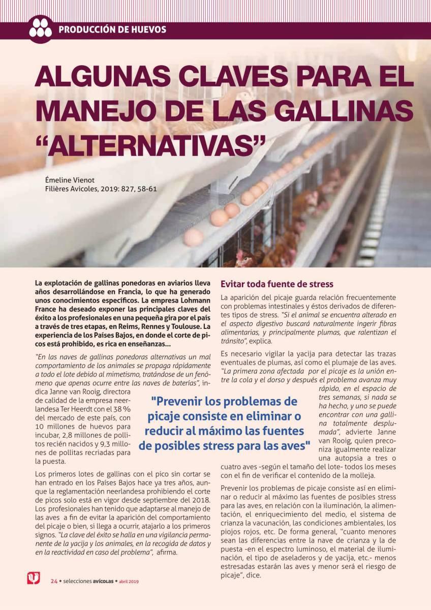 """ALGUNAS CLAVES PARA EL MANEJO DE LAS GALLINAS """"ALTERNATIVAS"""""""
