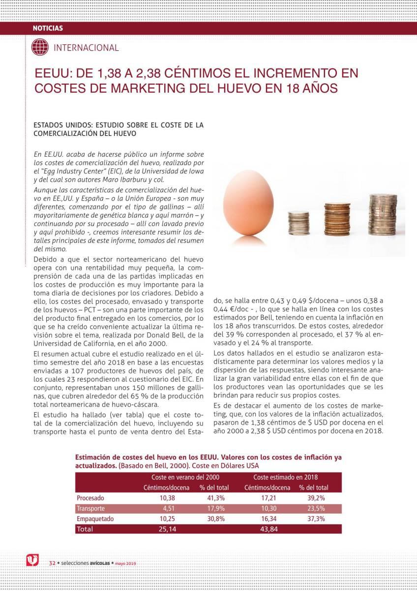 EEUU: DE 1,38 a 2,38 céntimos el incremento en costes de marketing del huevo en 18 años