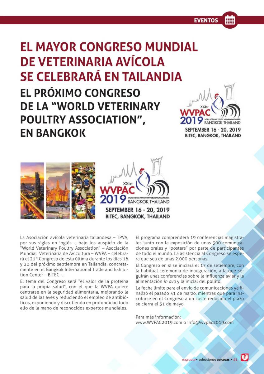 El mayor congreso mundial de veterinaria avícola se celebrará en Tailandia
