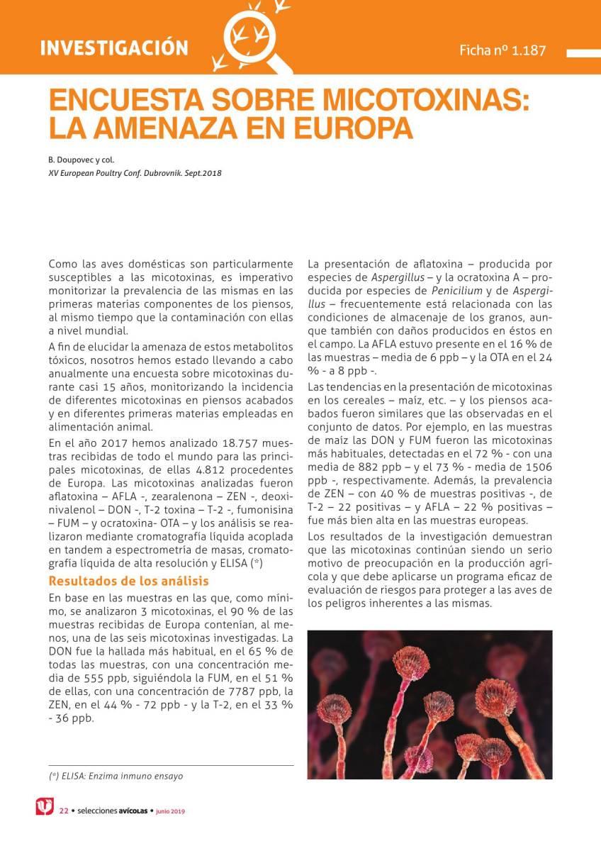 Encuesta sobre micotoxinas: la amenaza en Europa