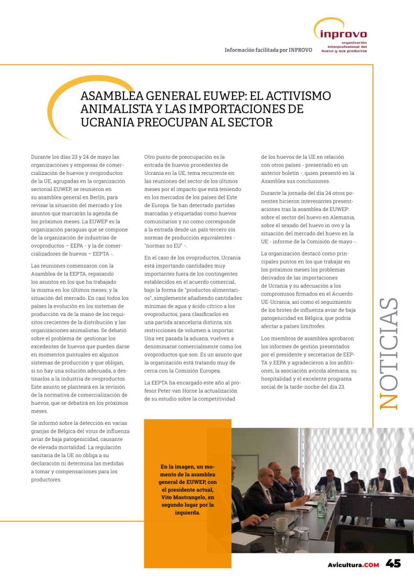Asamblea general EUWEP: El activismo animalista y las importaciones de Ucrania preocupan al sector