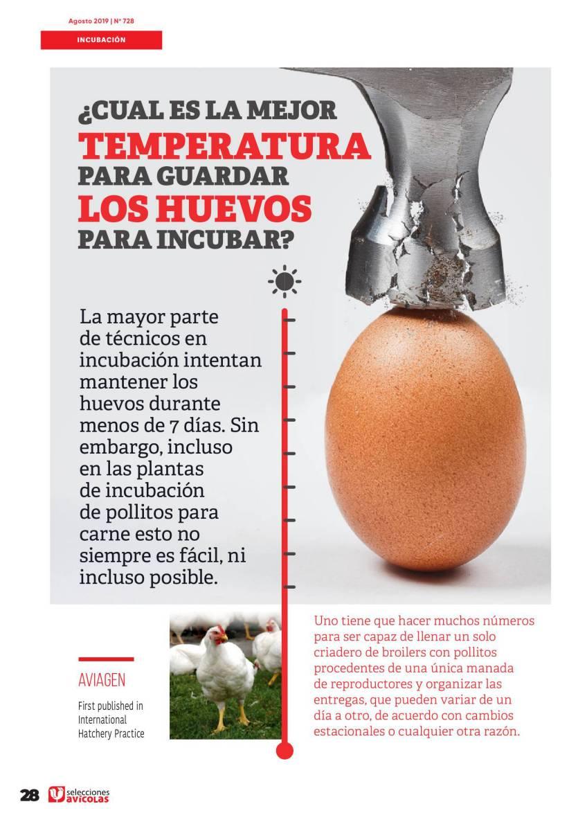 ¿Cual es la mejor temperatura para guardar los huevos para incubar?
