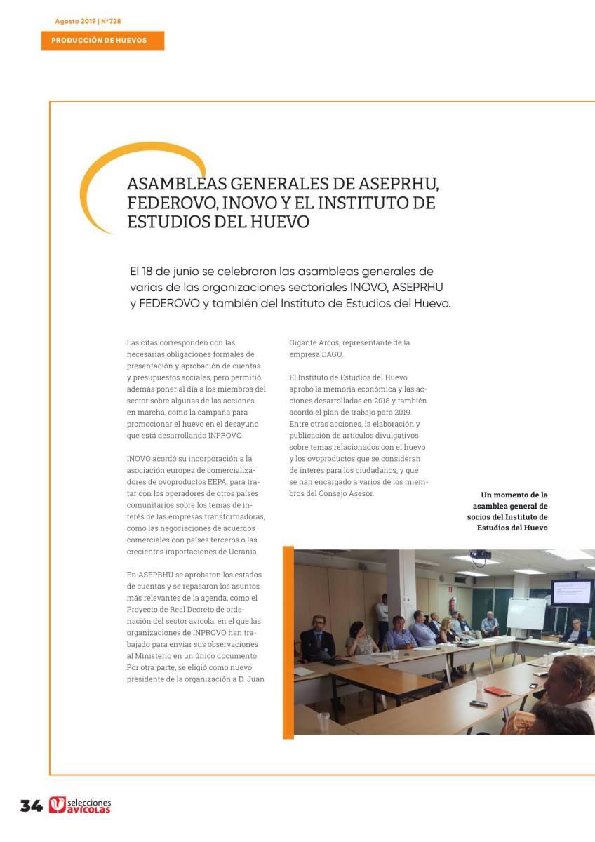 Asambleas generales de ASEPRHU, FEDEROVO, INOVO y el INSTITUTO DE ESTUDIOS DEL HUEVO