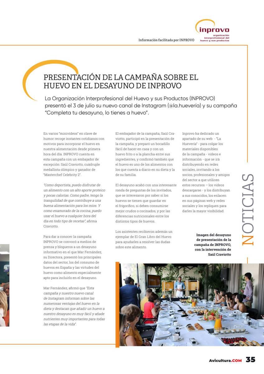 Presentación de la campaña sobre el huevo en el desayuno de INPROVO