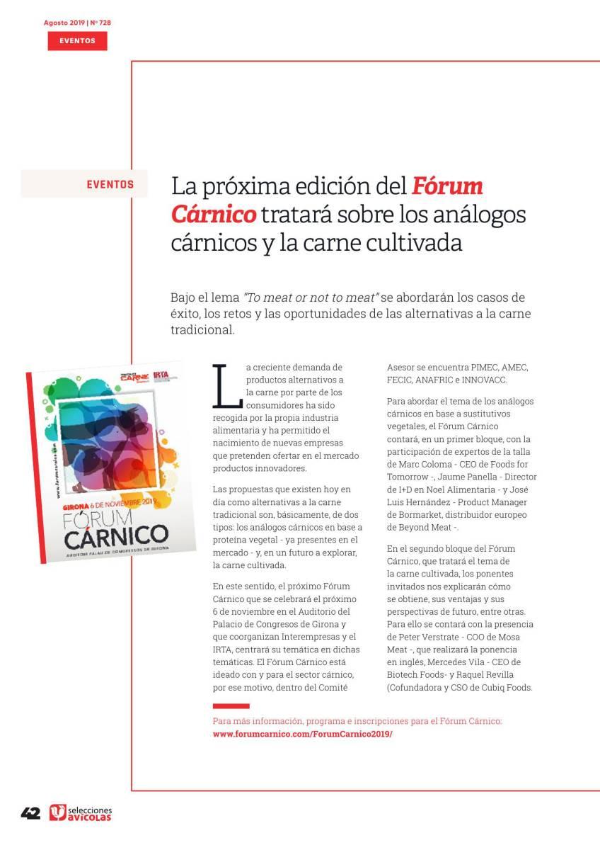 La próxima edición del Fórum Cárnico tratará sobre los análogos cárnicos y la carne cultivada