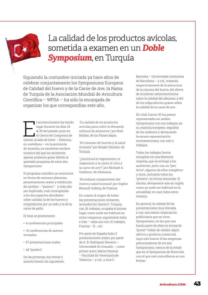 La calidad de los productos avícolas, sometida a examen en un Doble Symposium, en Turquía