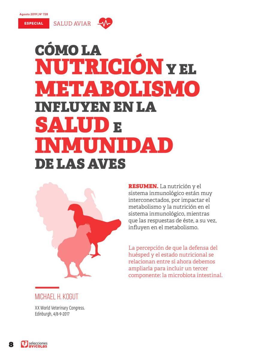 Cómo la nutrición y el metabolismo influyen en la salud e inmunidad de las aves