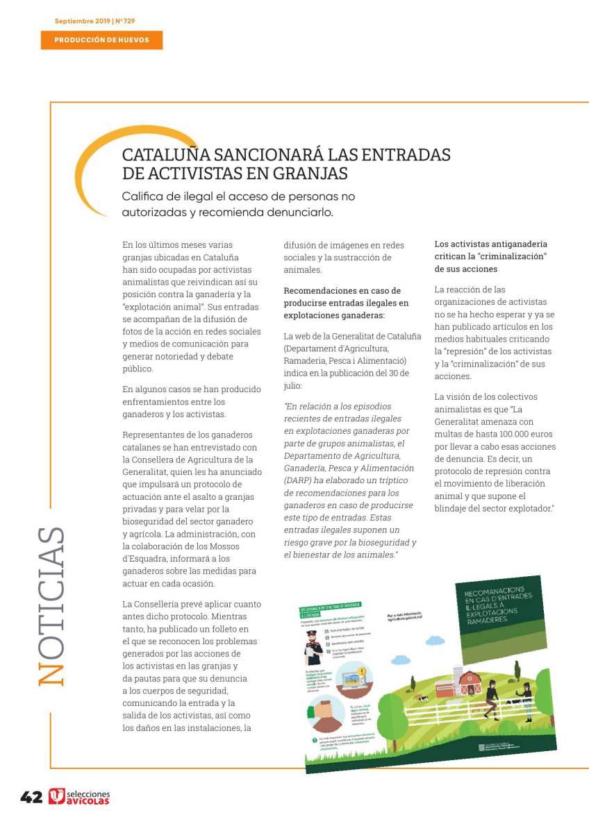 Cataluña sancionará las entradas de activistas en granjas
