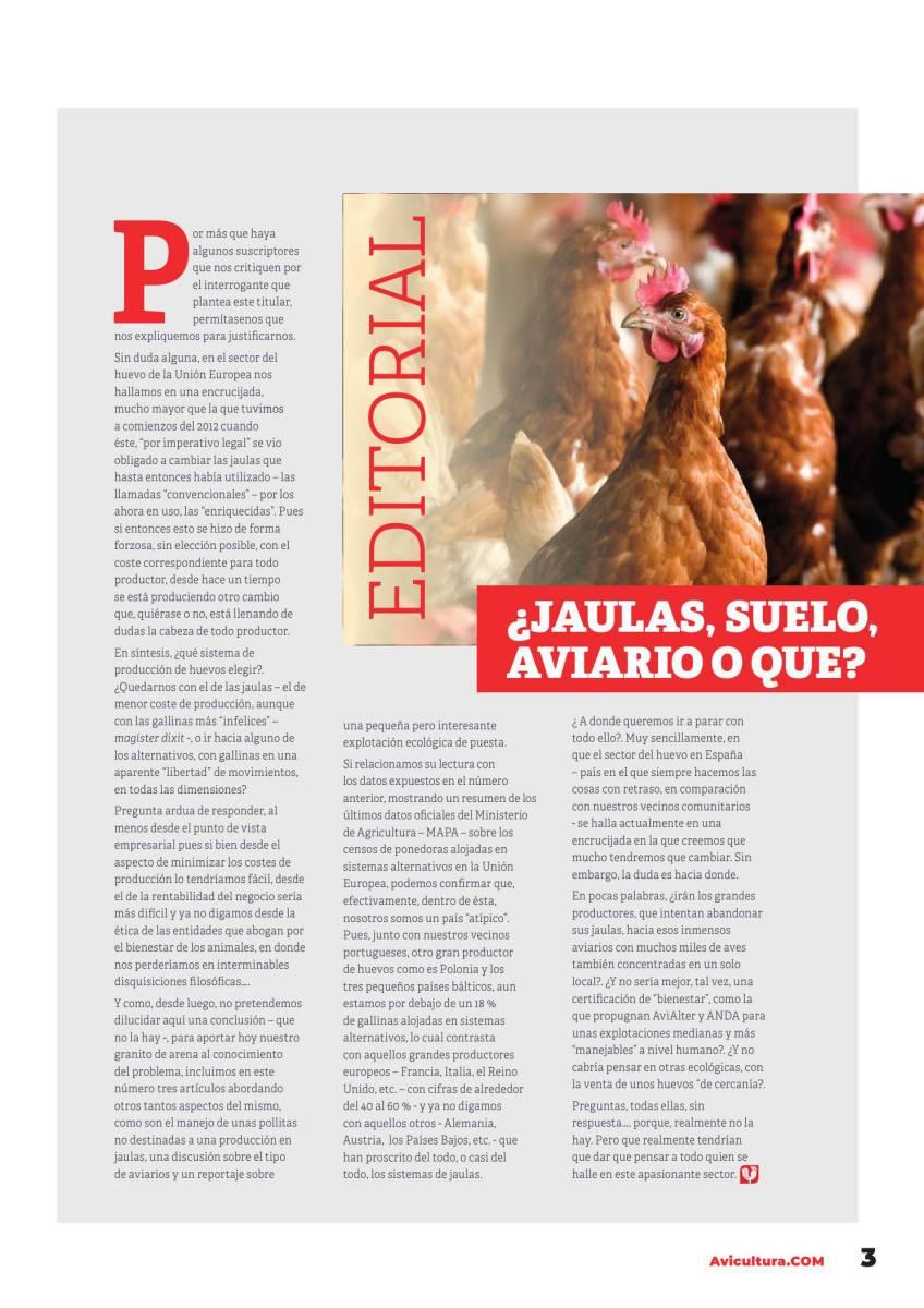 Editorial. ESPECIAL HUEVOS LIBRES DE JAULAS. ¿Jaulas, suelo, aviario o que?