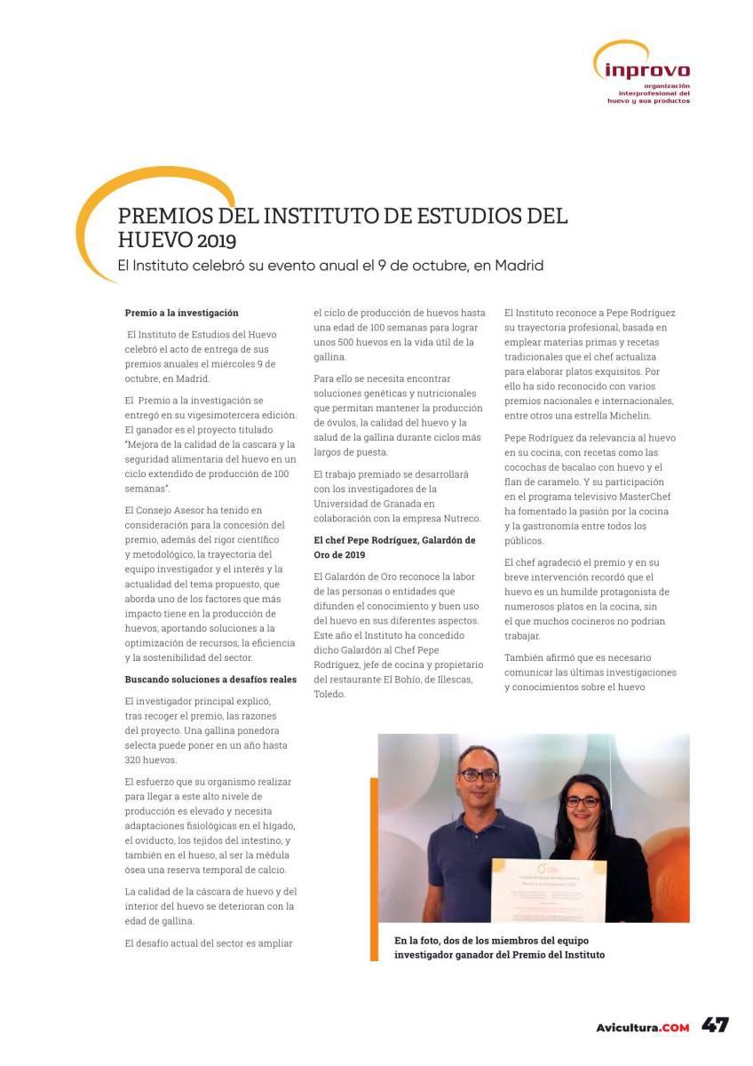 Premios del Instituto de Estudios del Huevo 2019