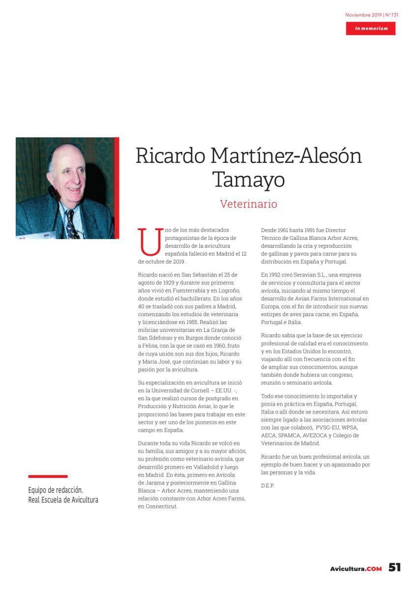 In Memoriam: Ricardo Martínez-Alesón Tamayo