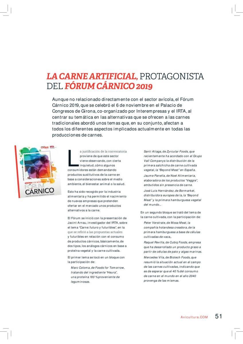 La carne artificial, protagonista del Forum Cárnico 2019