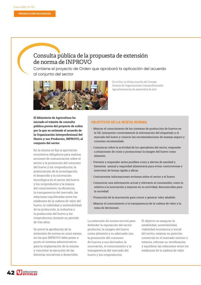 Consulta pública de la propuesta de extensión de norma de INPROVO