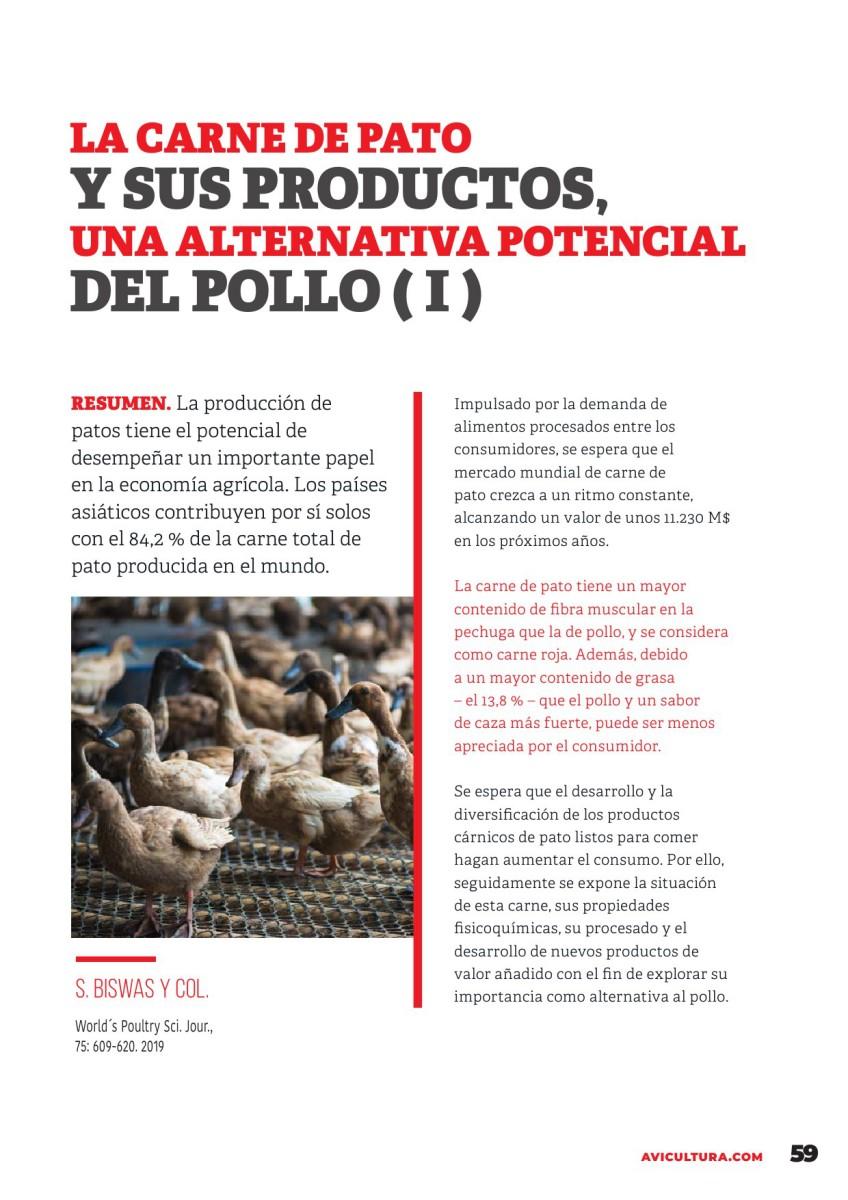 La carne de pato y sus productos, una alternativa potencial al pollo ( I )
