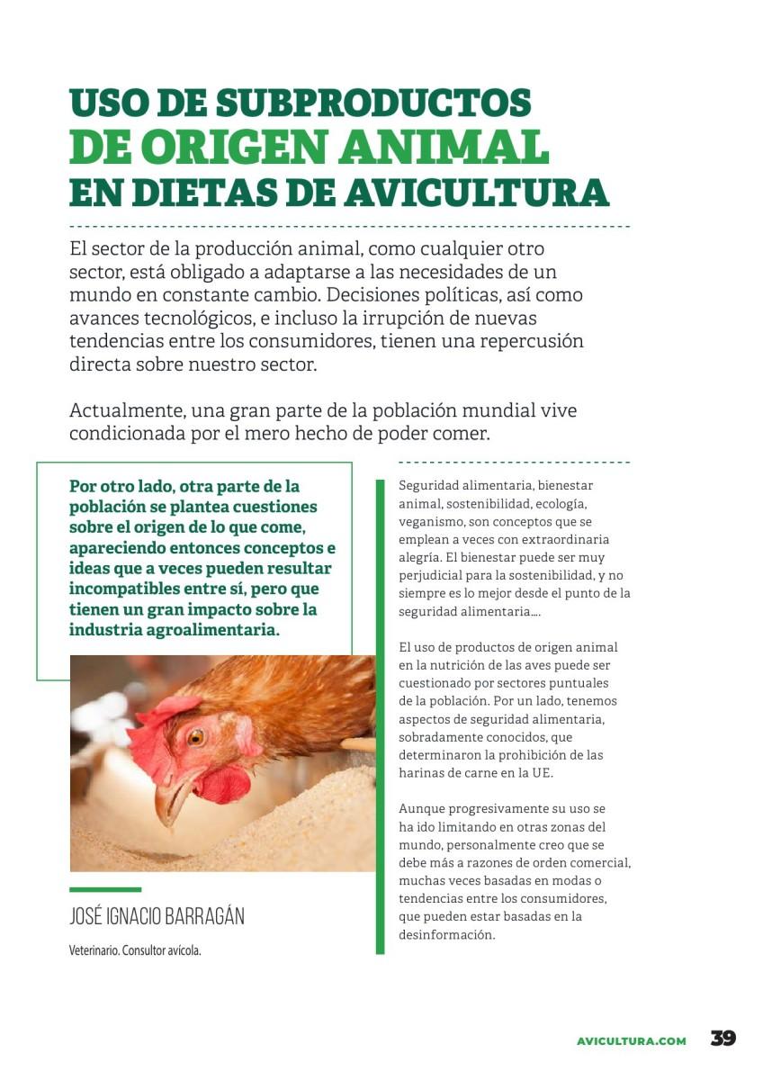 Uso de subproductos de origen animal en dietas de avicultura