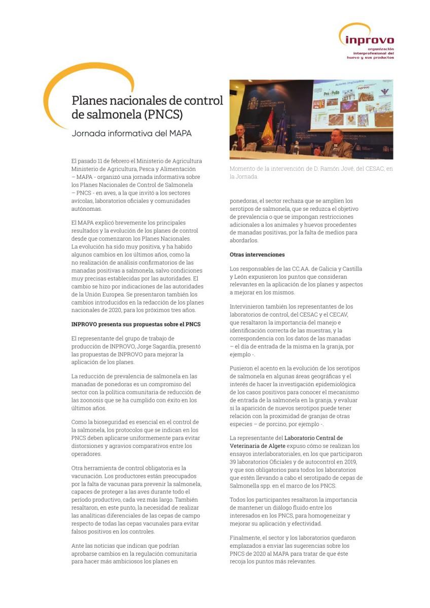 Planes nacionales de control de salmonela (PNCS)