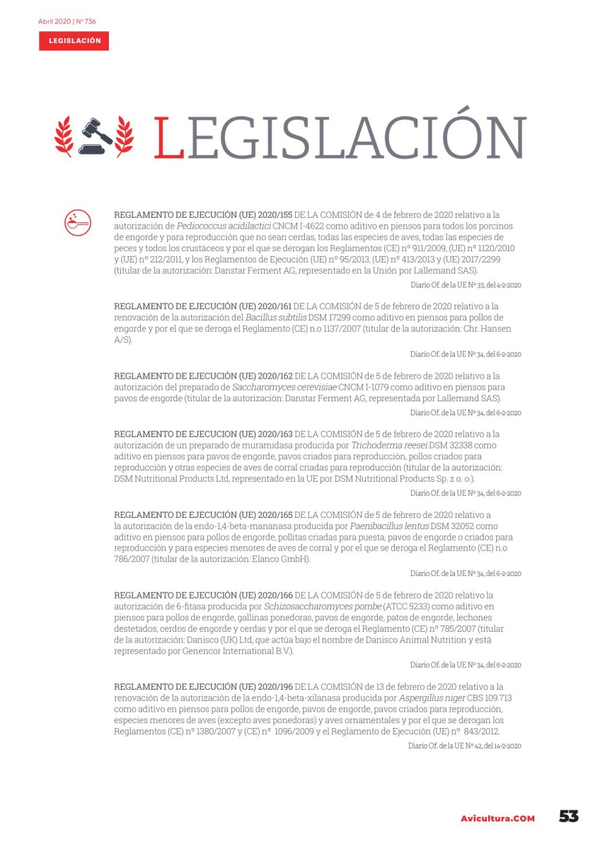 Legislación avícola abril 2020