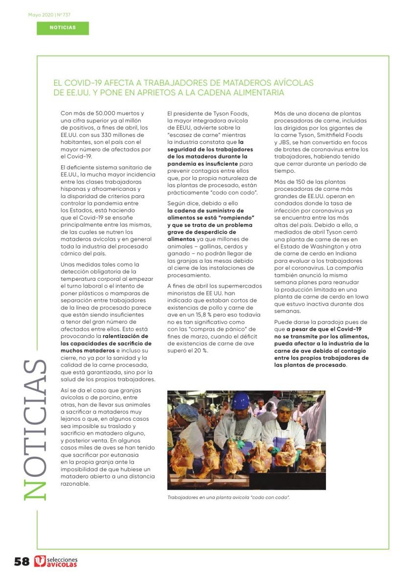 El Covid-19 afecta a trabajadores de mataderos avícolas de EEUU y pone en aprietos a la cadena alimentaria