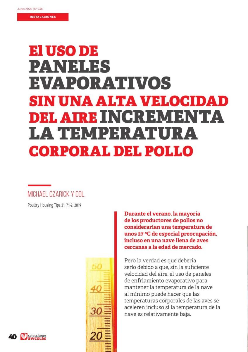 Especial INSTALACIONES AVICOLAS: El uso de paneles evaporativos sin una alta velocidad del aire incrementa la temperatura corporal del pollo