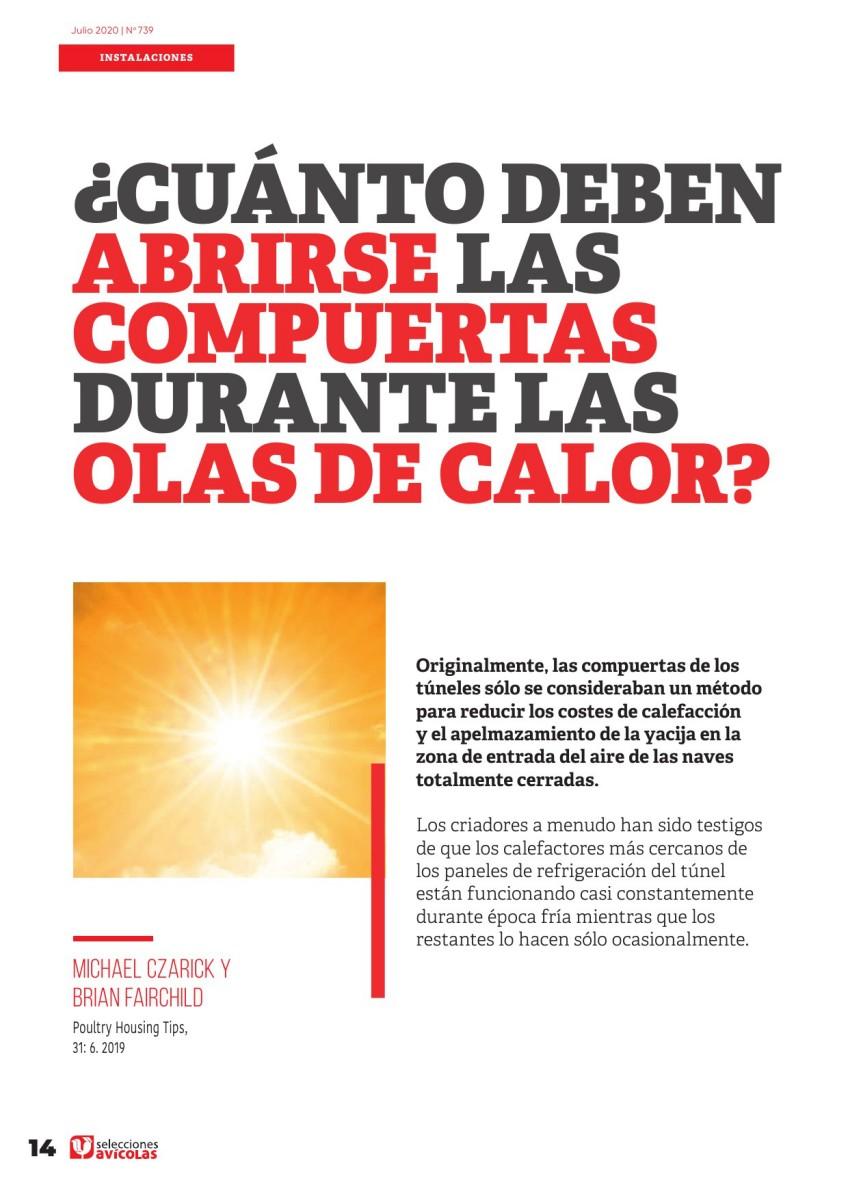 ¿Cuánto deben abrirse las compuertas durante las olas de calor?
