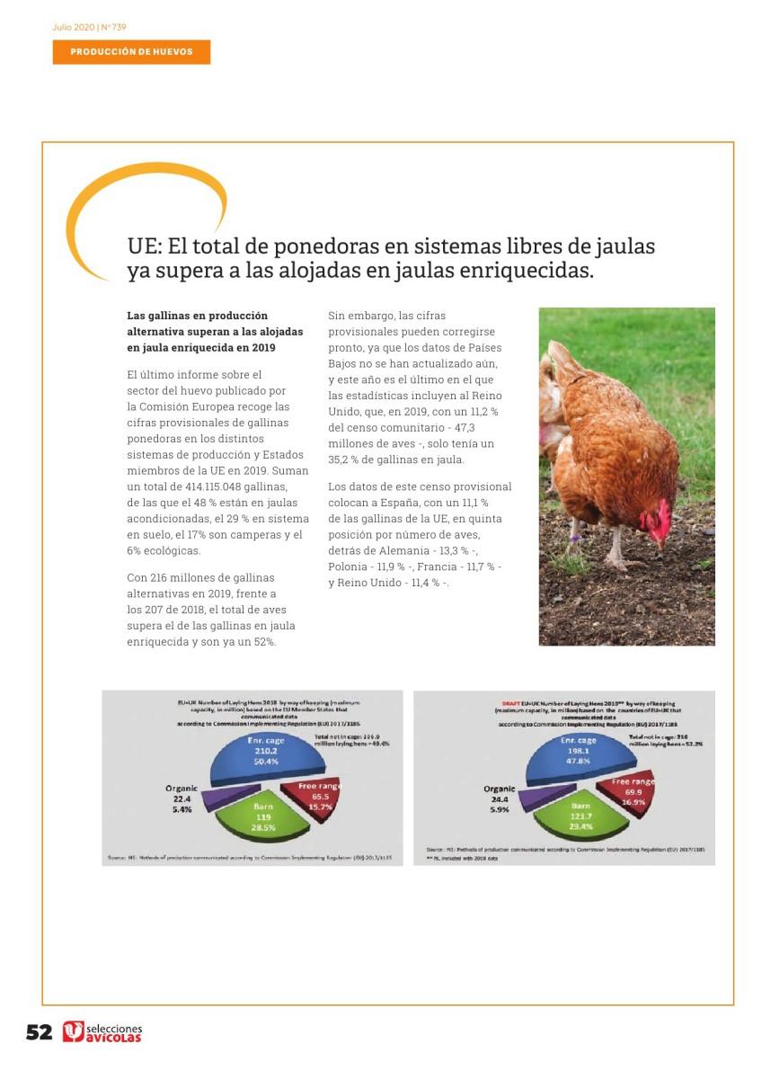 UE: El total de ponedoras en sistemas libres de jaulas ya supera a las alojadas en jaulas enriquecidas.