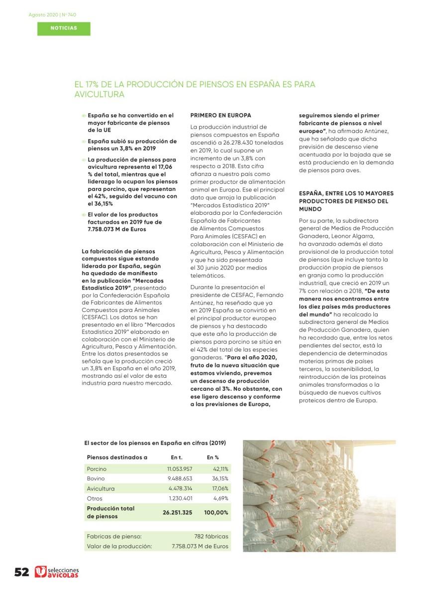 El 17% de la producción de piensos en España es para avicultura