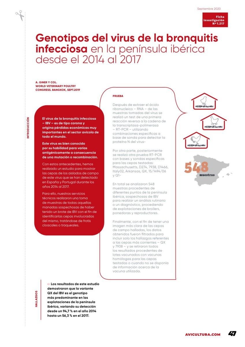 Genotipos del virus de la Bronquitis Infecciosa en la Península Ibérica desde el 2014 al 2017