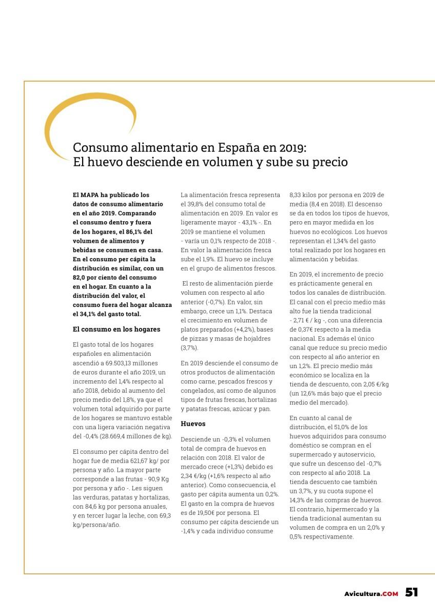 El consumo alimentario en España en 2019: el huevo desciende en volumen y sube su precio