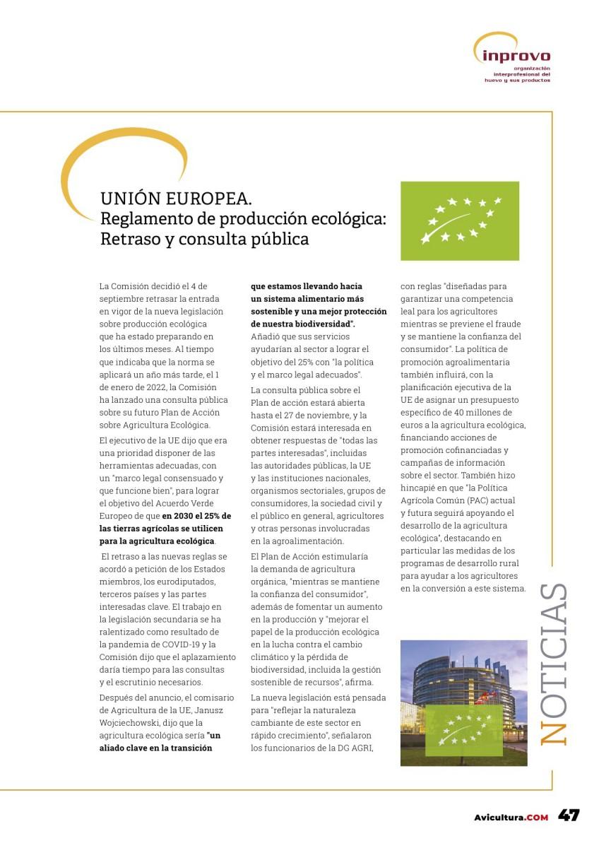 UNIÓN EUROPEA. Reglamento de producción ecológica: Retraso y consulta pública