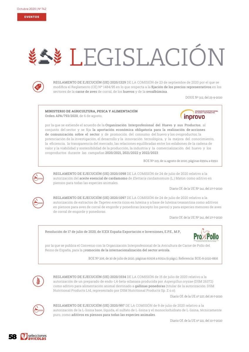 Legislación avícola octubre 2020