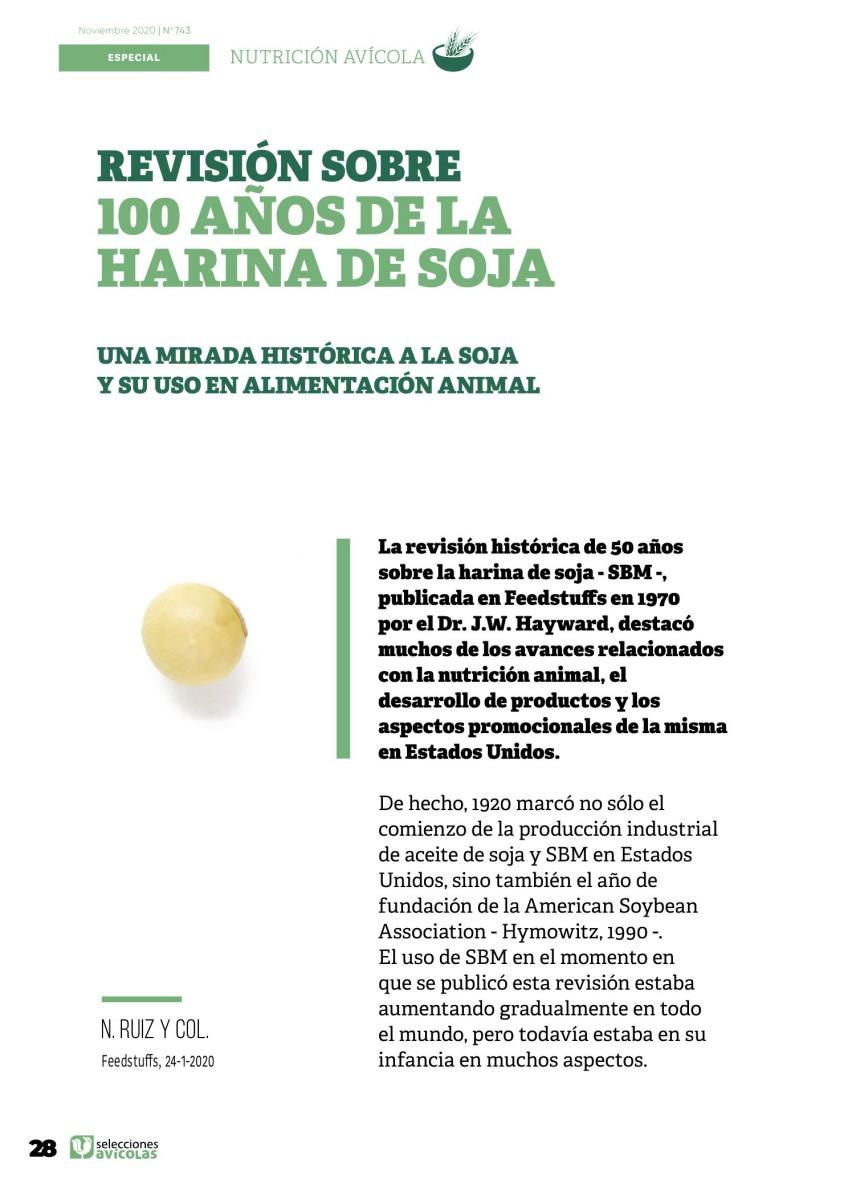 Especial NUTRICIÓN AVIAR: Revisión sobre 100 años de la harina de soja.  Una mirada histórica a la soja y su uso en alimentación animal.