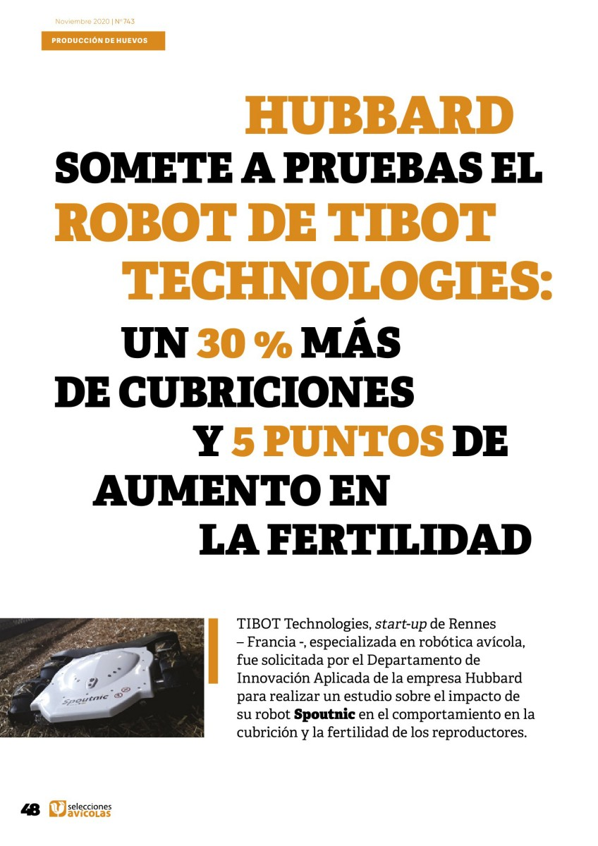 HUBBARD somete a pruebas el ROBOT de TIBOT TECHNOLOGIES: Un 30 % más de cubriciones y 5 puntos de aumento en la fertilidad