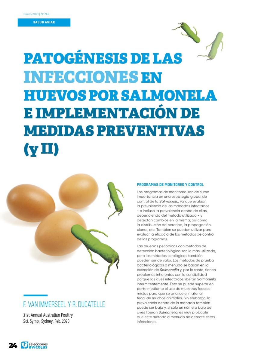 Patogénesis de las infecciones en huevos por salmonela e implementación de medidas preventivas (y II)