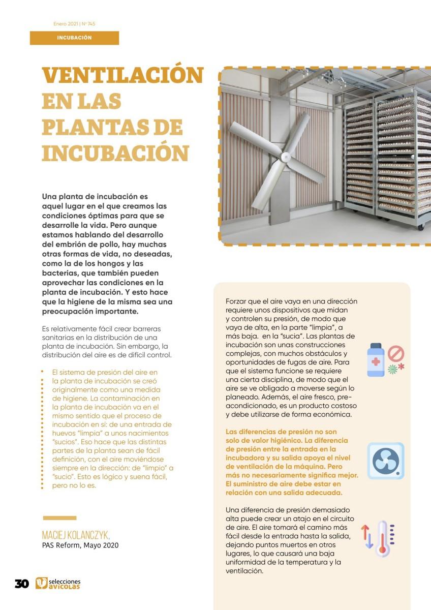 Ventilación en las plantas de incubación