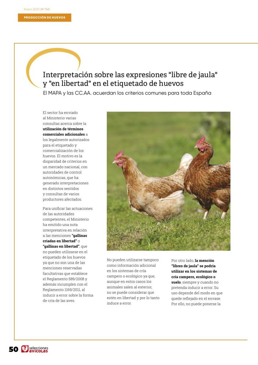 """Interpretación sobre las expresiones """"libre de jaula"""" y """"en libertad"""" en el etiquetado de huevos"""