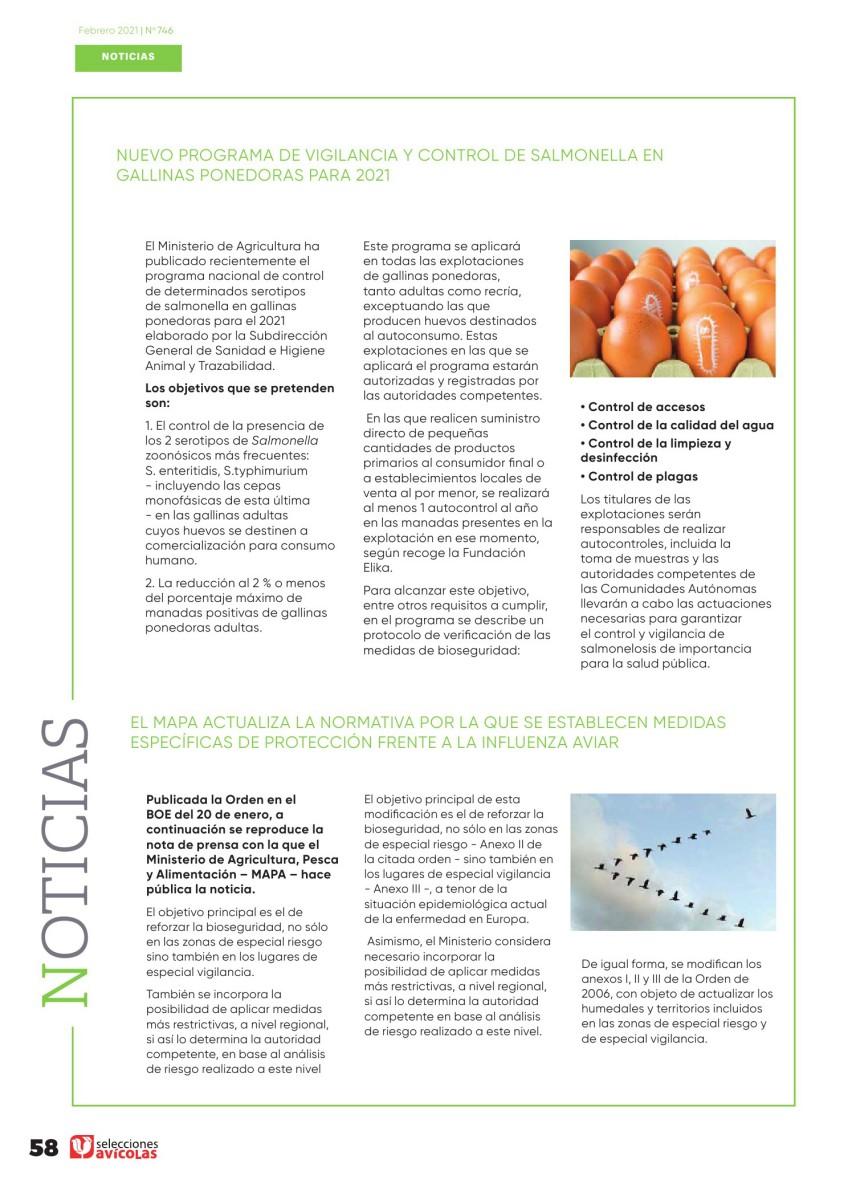 Nuevo programa de vigilancia y control de salmonella en gallinas ponedoras para 2021