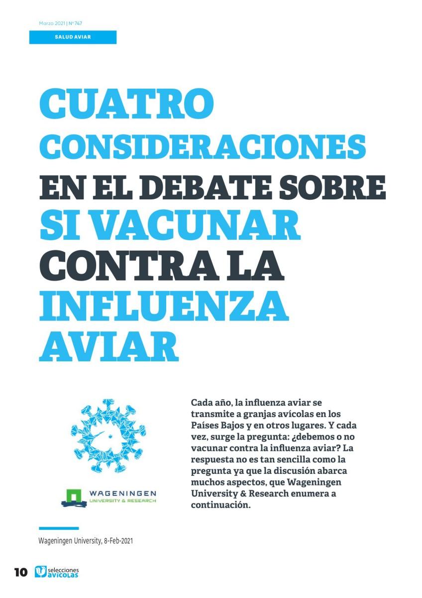 Especial UNA SOLA SALUD: Cuatro consideraciones en el debate sobre si vacunar contra la Influenza Aviar