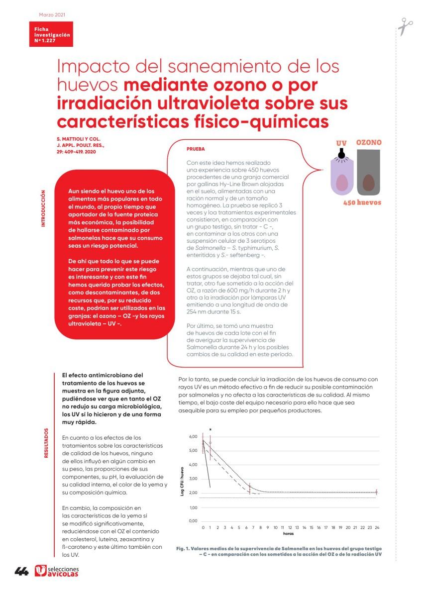 Especial UNA SOLA SALUD: Impacto del saneamiento de los huevos mediante ozono o por radiación UV sobre sus características físico-químicas