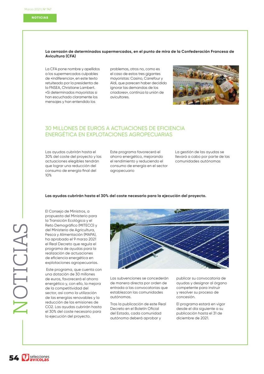 30 millones de euros a actuaciones de eficiencia energética en explotaciones agropecuarias